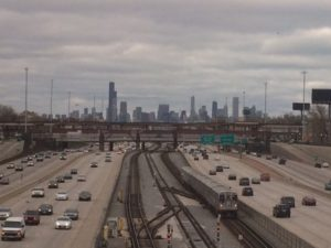 View of the Chicago skyline from the Amtrak train window.
