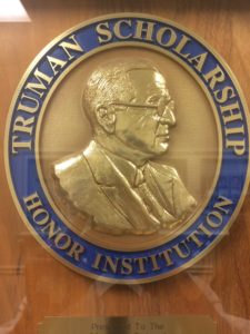 Inside the Maxwell School hangs a Truman Scholarship Honor Institution plaque.