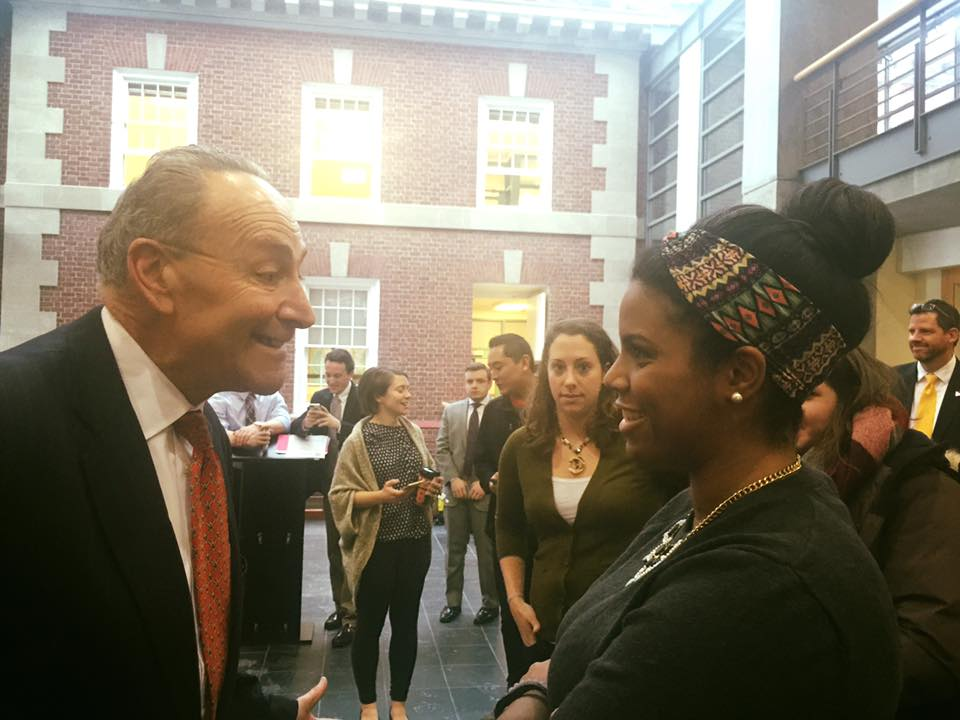 Dual MPA/MAIR student Charlene Cordero connecting with the Senator over their NYC roots.